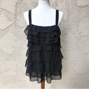 BCBG Ruffle Sleeveless Black Top Size XL